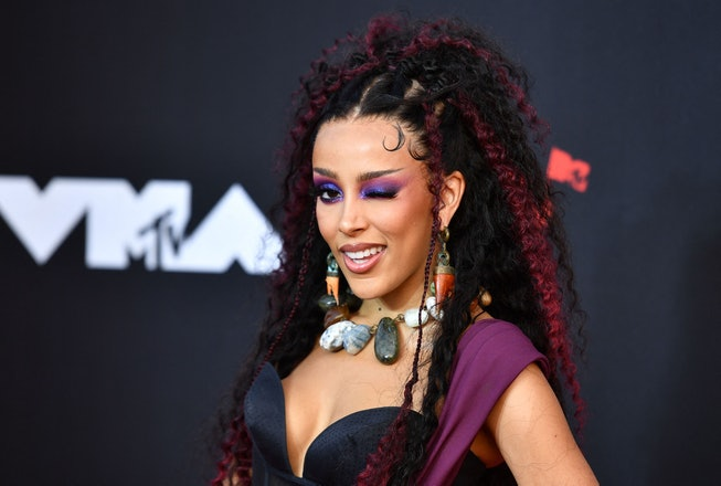 US rapper Doja Cat arrives for the 2021 MTV Video Music Awards at Barclays Center in Brooklyn, New Y...