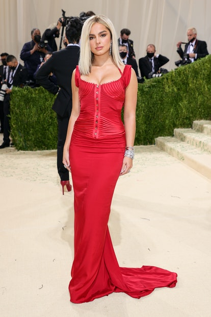 Addison Rae's Met Gala 2021 look was a stunning red gown, drawing inspiration from Britney Spears' d...