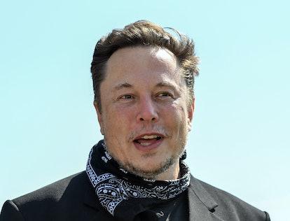 13 August 2021, Brandenburg, Grünheide: Elon Musk, Tesla CEO, stands at a press event on the grounds...
