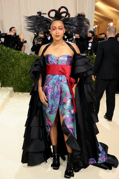NEW YORK, NEW YORK - SEPTEMBER 13: Co-chair Naomi Osaka attends The 2021 Met Gala Celebrating In Ame...