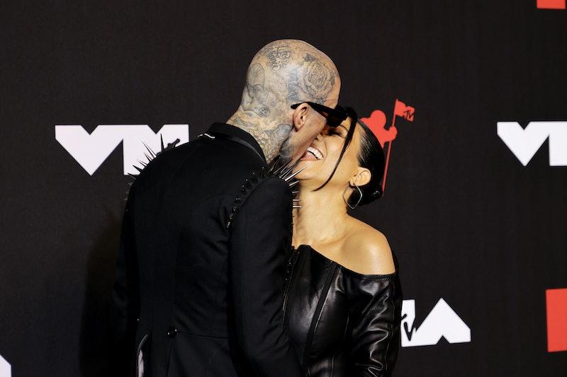 Kourtney Kardashian & Travis Barker's VMAs 2021 red carpet looks proved they're two beauties in blac...