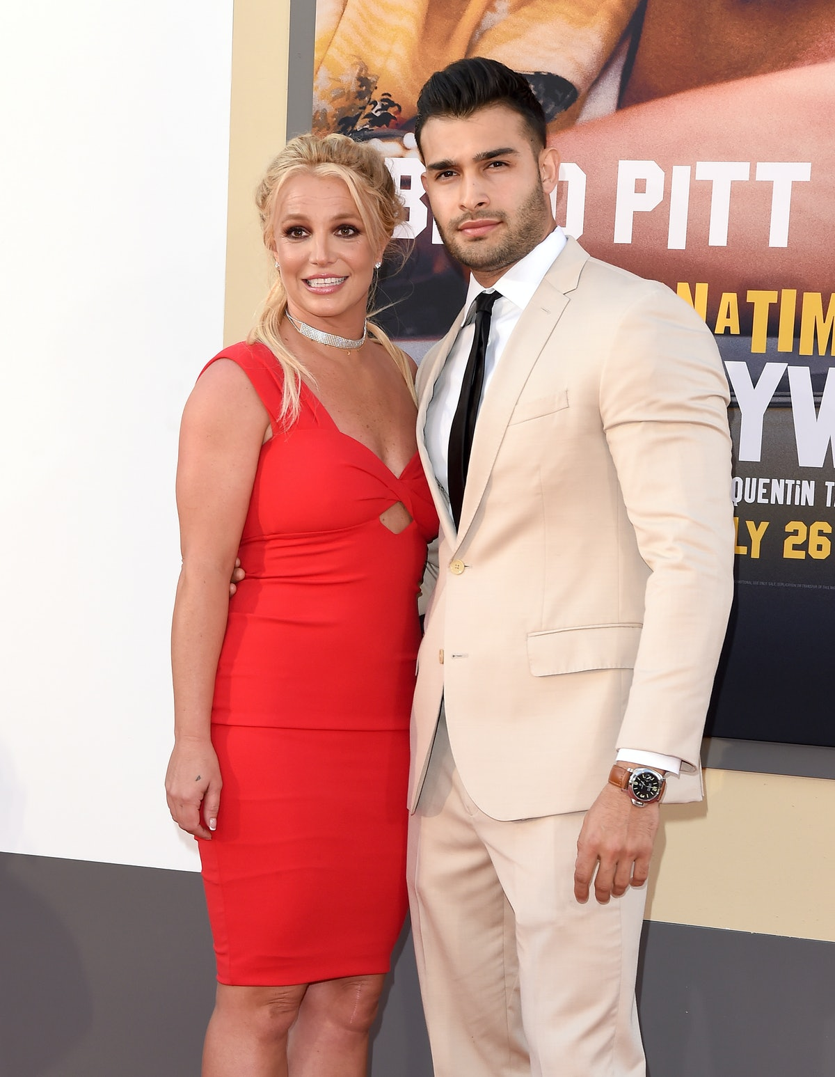Britney Spears and Sam Asghari at a movie premiere, who got engaged in September 2021 with a huge ri...