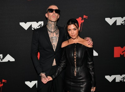NEW YORK, NEW YORK - SEPTEMBER 12: (L-R) Travis Barker and Kourtney Kardashian attend the 2021 MTV V...
