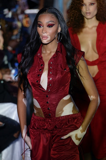 NEW YORK, NEW YORK - SEPTEMBER 09: Winnie Harlow walks the runway for Laquan Smith during NYFW: The ...