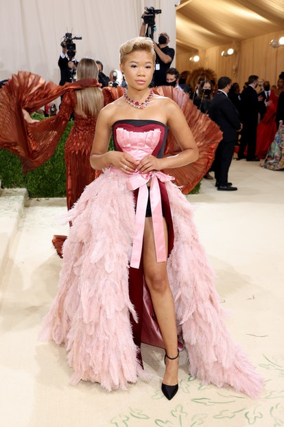 NEW YORK, NEW YORK - SEPTEMBER 13: Storm Reid attends The 2021 Met Gala Celebrating In America: A Le...