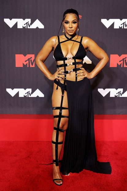 NEW YORK, NEW YORK - SEPTEMBER 12: Ashanti attends the 2021 MTV Video Music Awards at Barclays Cente...
