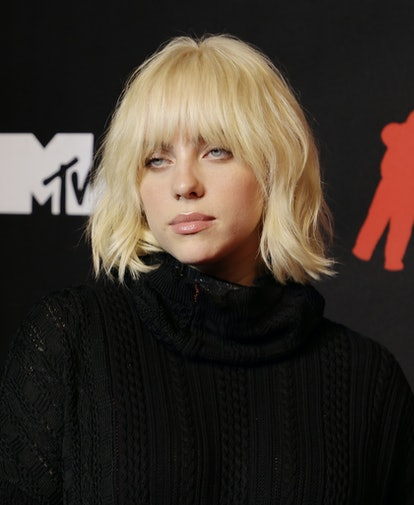NEW YORK, NEW YORK - SEPTEMBER 12: Billie Eilish attends the 2021 MTV Video Music Awards at Barclays...