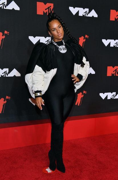 NEW YORK, NEW YORK - SEPTEMBER 12: Alicia Keys attends the 2021 MTV Video Music Awards at Barclays C...