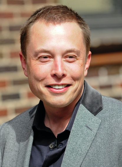 """NEW YORK - APRIL 29:  Tesla Motors CEO Elon Musk visits the """"Late Show With David Letterman"""" at the ..."""