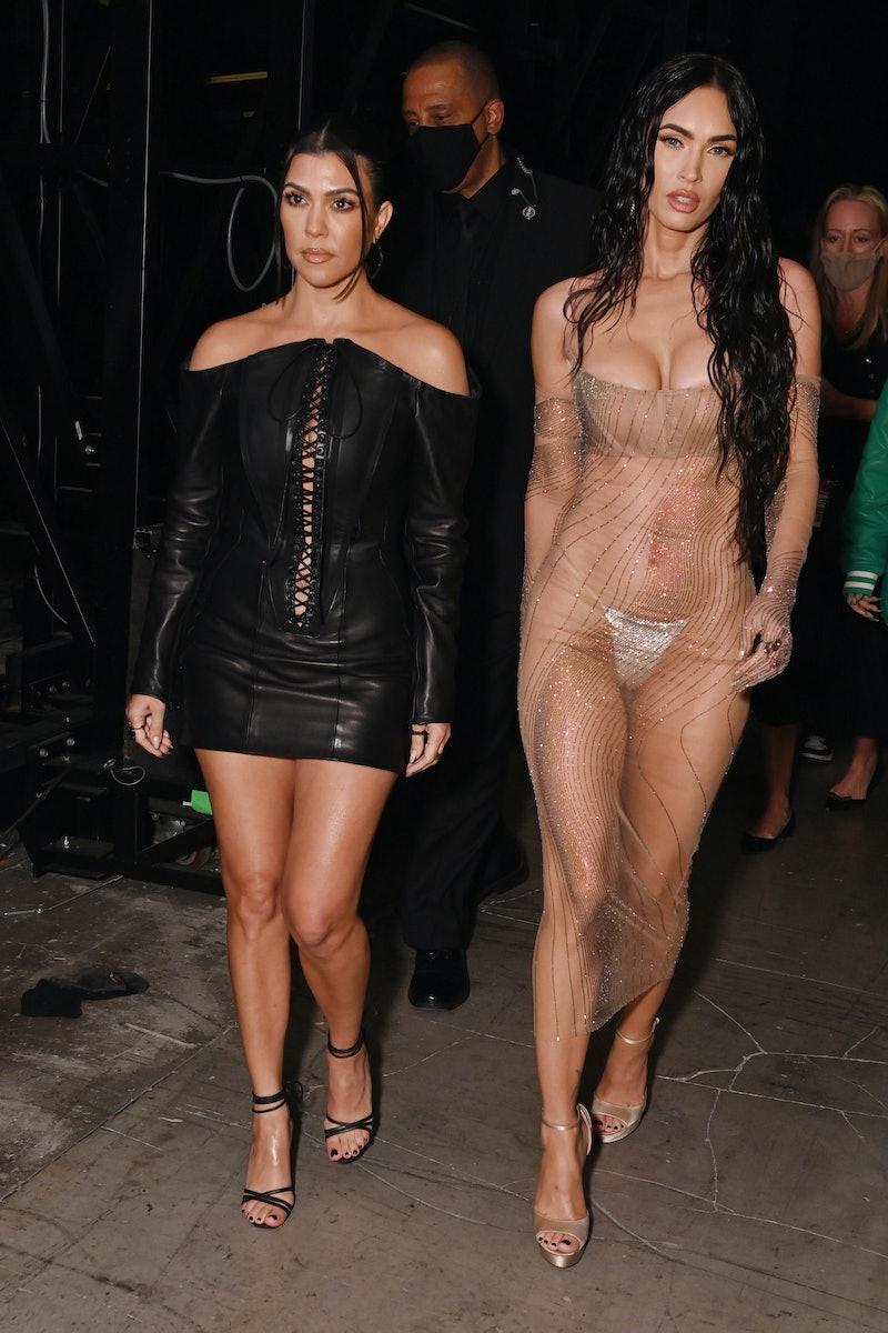 NEW YORK, NEW YORK - SEPTEMBER 12: (L-R) Kourtney Kardashian and Megan Fox attend the 2021 MTV Video...