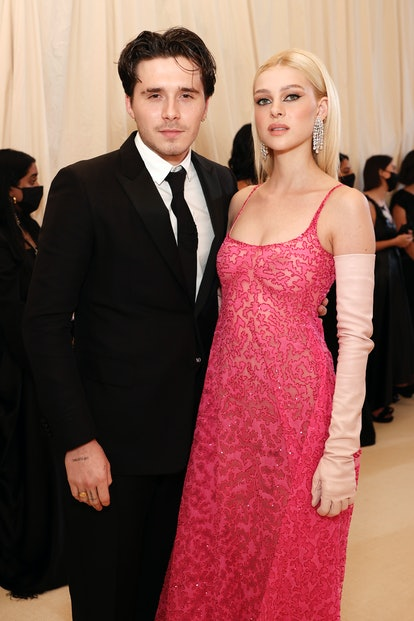 NEW YORK, NEW YORK - SEPTEMBER 13: Brooklyn Beckham and  Nicola Peltz attend The 2021 Met Gala Celeb...