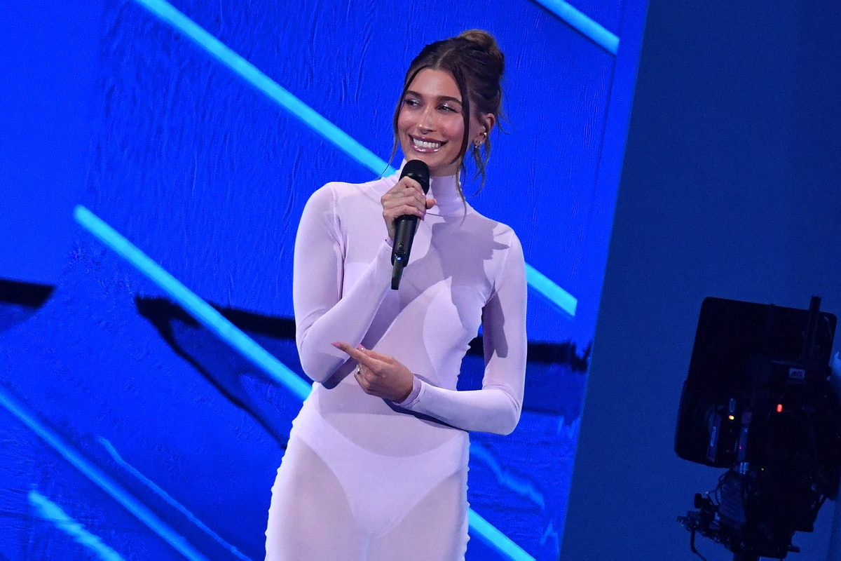 Hailey Bieber speaks on stage during the 2021 MTV Video Music Awards at Barclays Center in Brooklyn,...