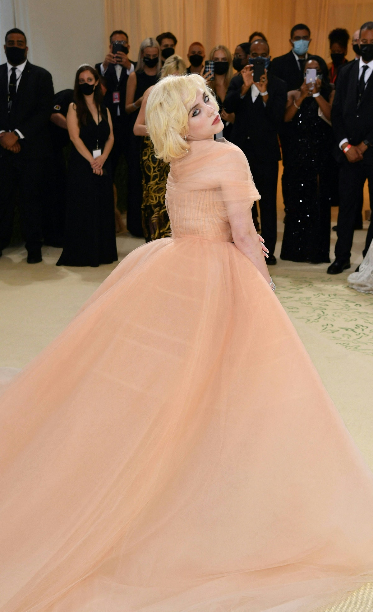 US singer/songwriter Billie Eilish arrives for the 2021 Met Gala at the Metropolitan Museum of Art o...