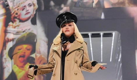 NEW YORK, NEW YORK - SEPTEMBER 12: Madonna speaks onstage during the 2021 MTV Video Music Awards at ...