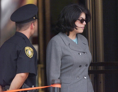 Monica Lewinsky leaves court after testifying before a grand jury investigating President Bill Clint...