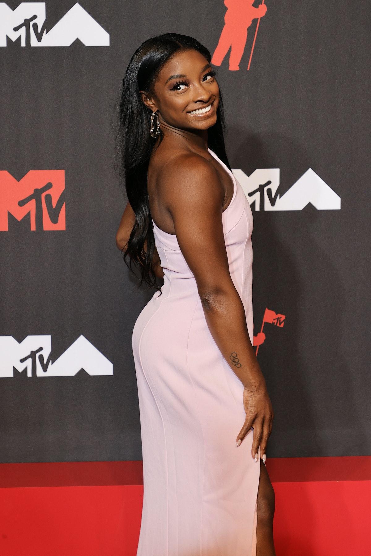 NEW YORK, NEW YORK - SEPTEMBER 12: Simone Biles attends the 2021 MTV Video Music Awards at Barclays ...
