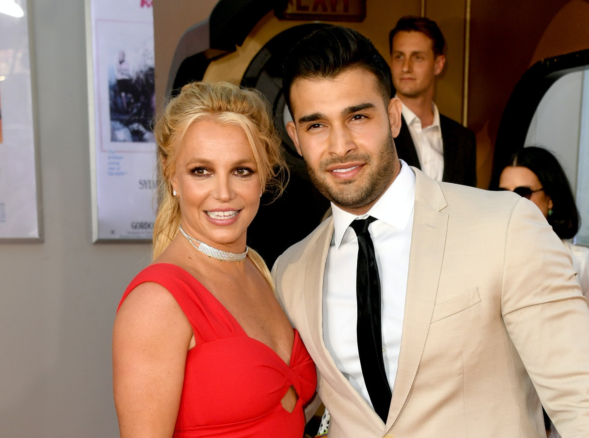 HOLLYWOOD, CALIFORNIA - JULY 22: Britney Spears (L) and Sam Asghari arrive at the premiere of Sony P...