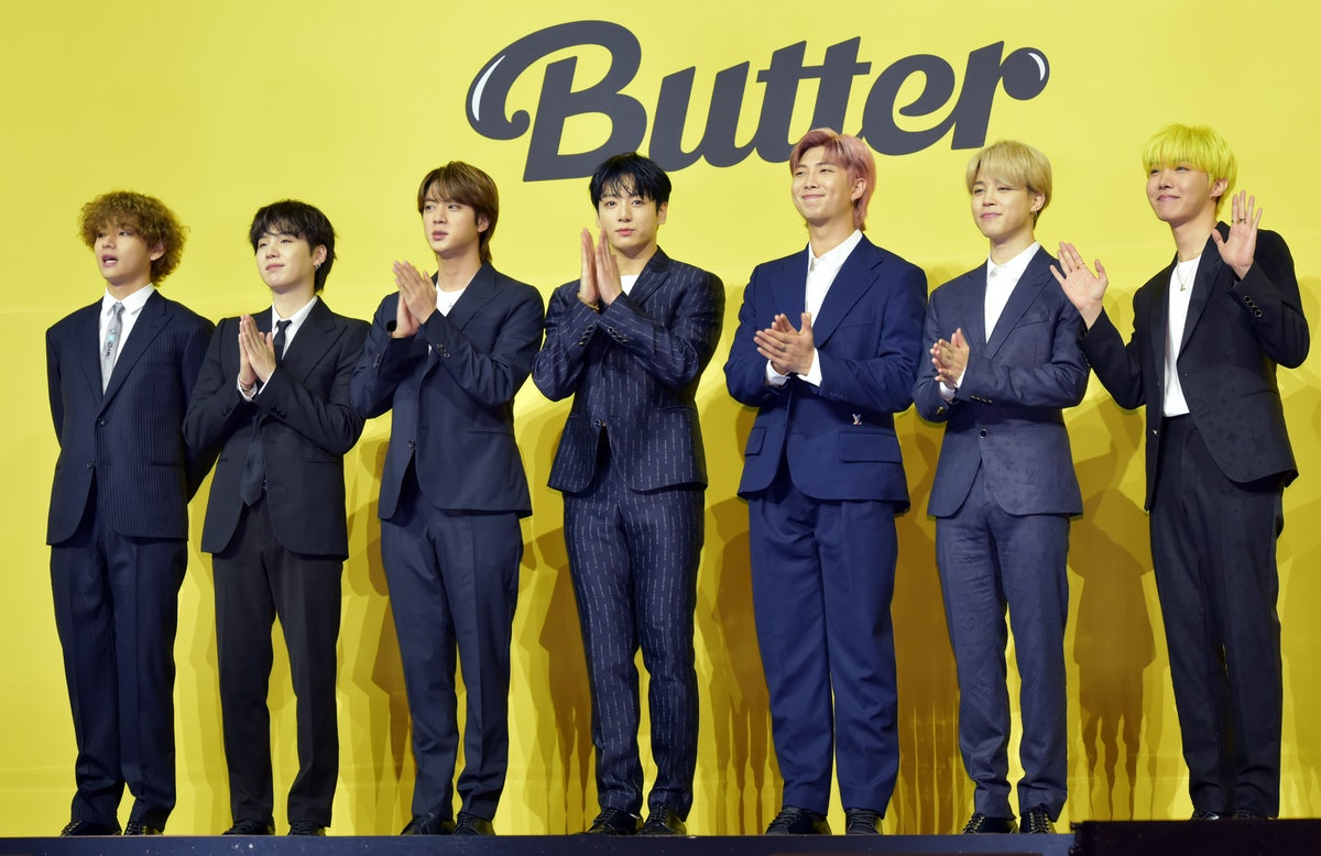 """BTS at a """"Butter"""" press conference, who didn't win Song Of The Year at the 2021 VMAs."""