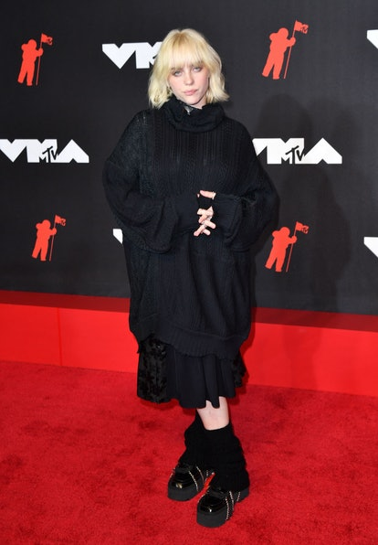 US singer-songwriter Billie Eilish arrives for the 2021 MTV Video Music Awards at Barclays Center in...