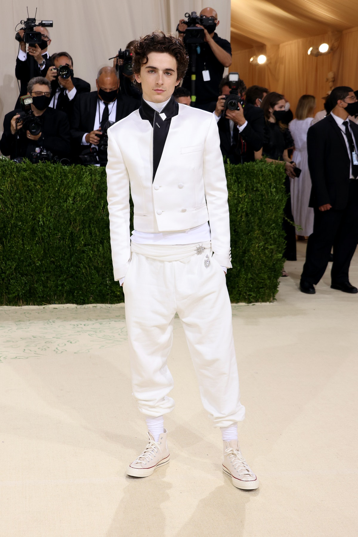 Met Gala co-chair Timothée Chalamet attended the 2021 Met Gala in a Haider Ackermann suit and Conver...