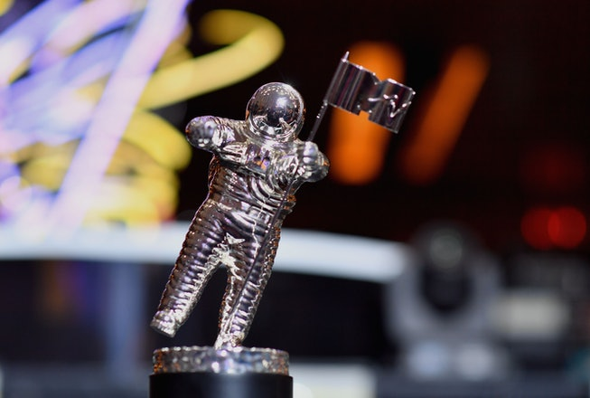 """The VMA throphy known as """"Moon Person"""" is seen during the 2018 MTV Video Music Awards press junket a..."""