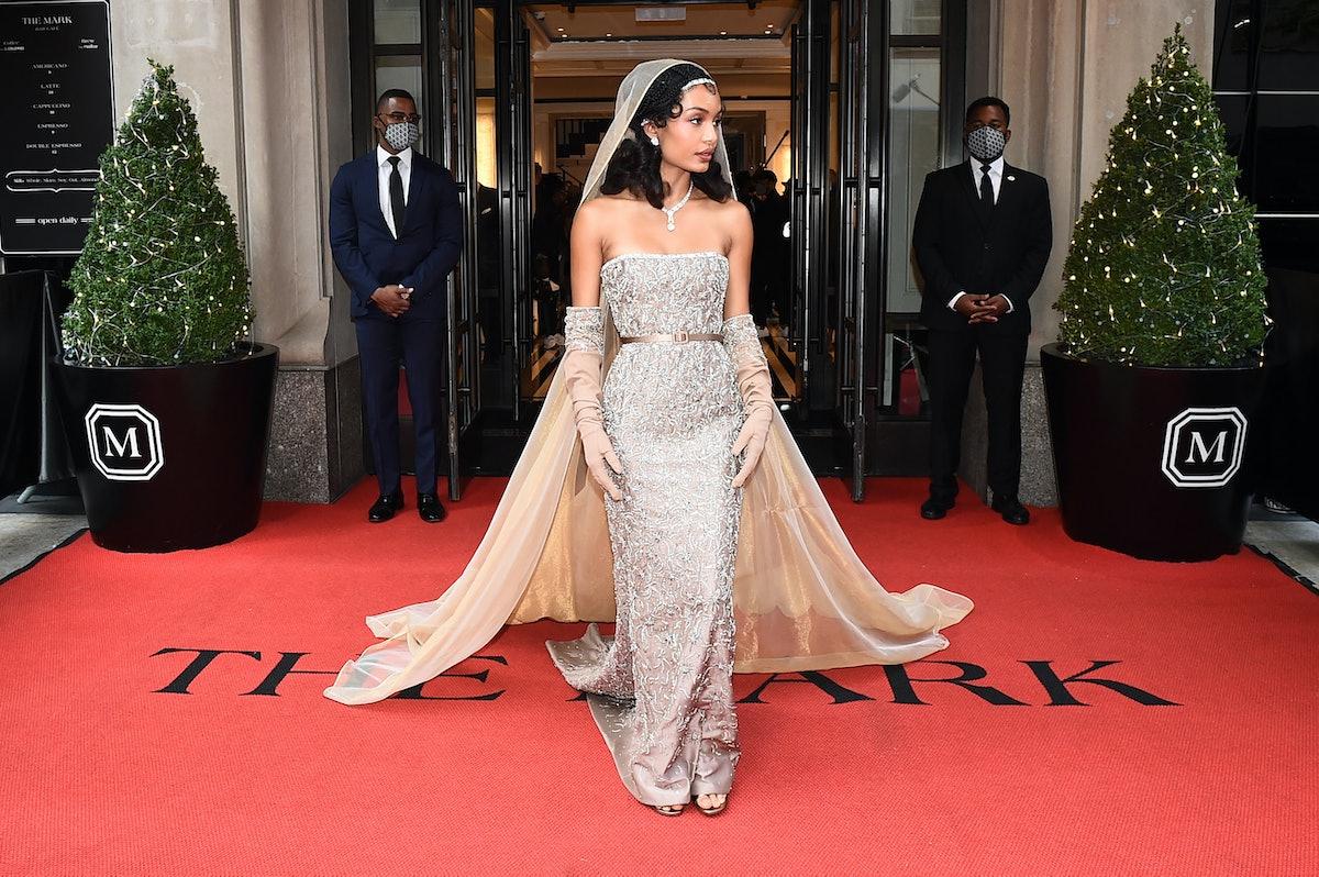 NEW YORK, NEW YORK - SEPTEMBER 13: Yara Shahidi  departs The Mark Hotel for the 2021 Met Gala on Sep...