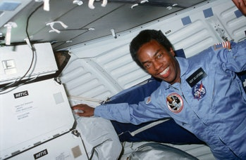 African American astronaut Guion 'Guy' Bluford smiles while serving as Mission Specialist on the Spa...