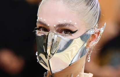 Canadian musician Grimes arrives for the 2021 Met Gala at the Metropolitan Museum of Art on Septembe...