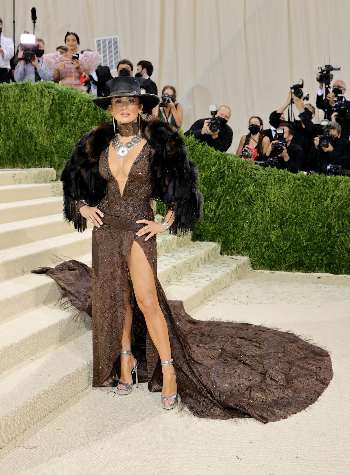 Jennifer Lopez attended The 2021 Met Gala in a western-themed Ralph Lauren gown.