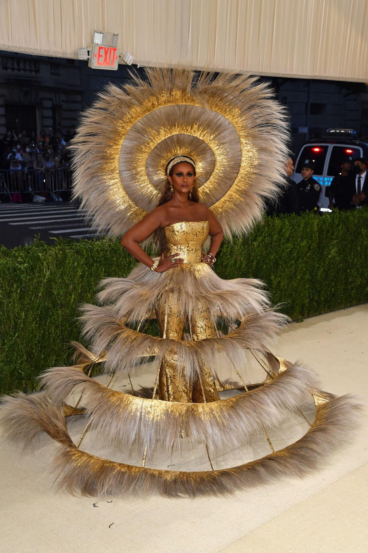 Somali-US fashion model Iman arrives for the 2021 Met Gala at the Metropolitan Museum of Art on Sept...