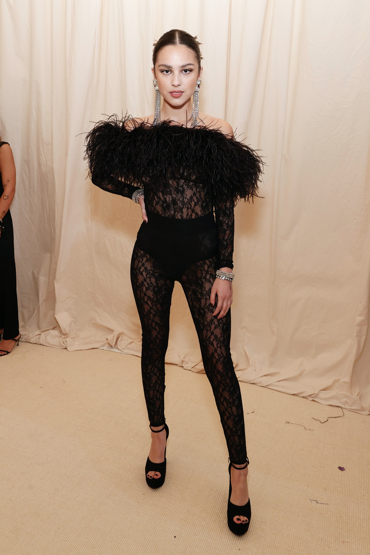 Olivia Rodrigo wore a feathered bodysuit to the 2021 Met Gala.
