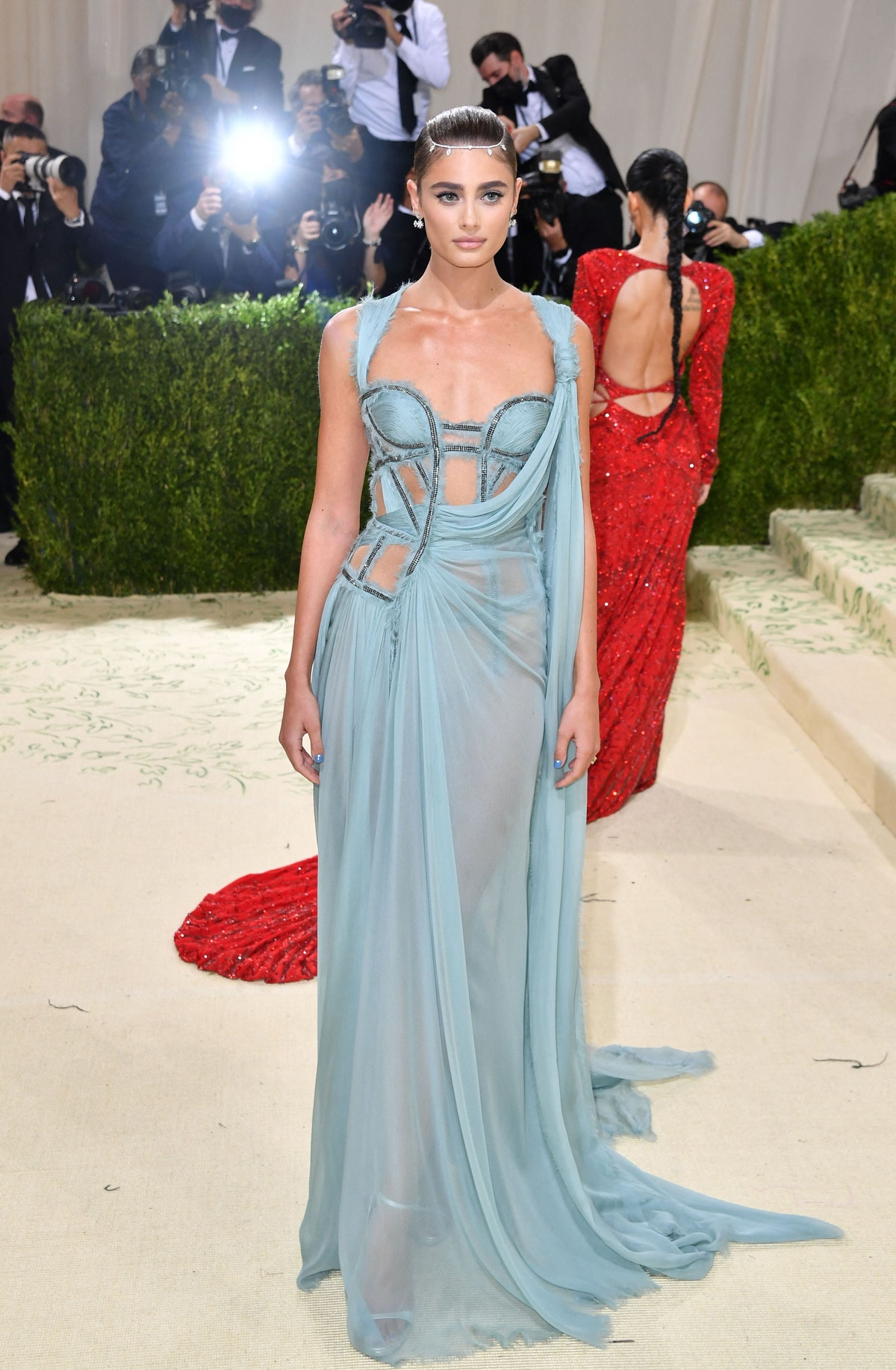 US model Taylor Hill arrives for the 2021 Met Gala at the Metropolitan Museum of Art on September 13...