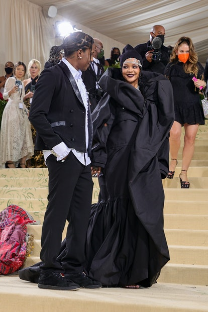 NEW YORK, NEW YORK - SEPTEMBER 13: A$AP Rocky and Rihanna attend The 2021 Met Gala Celebrating In Am...