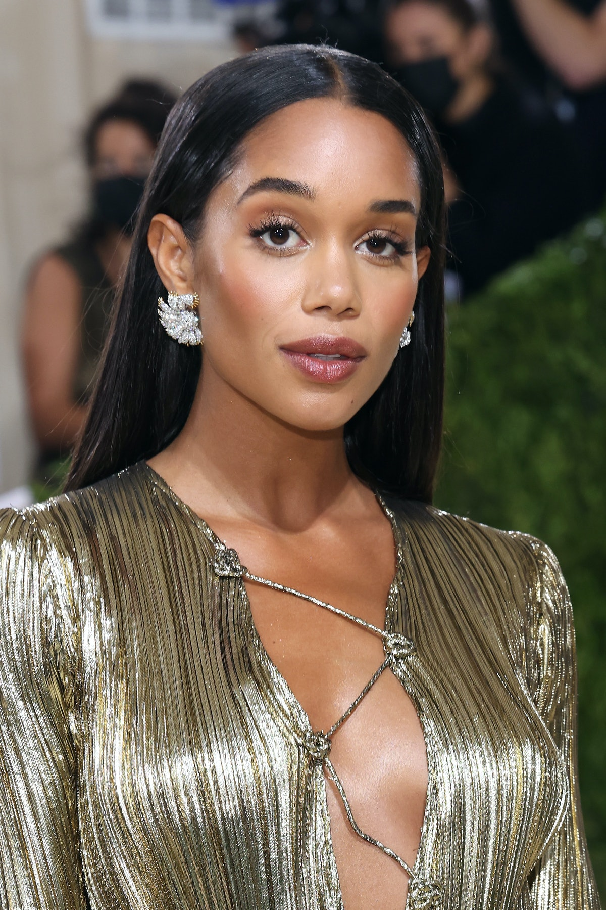 """NEW YORK, NEW YORK - SEPTEMBER 13: Laura Harrier attends the 2021 Met Gala benefit """"In America: A Le..."""