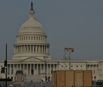 A temporary security camera is seen near the US Capitol in Washington, DC on September 14, 2021. - S...