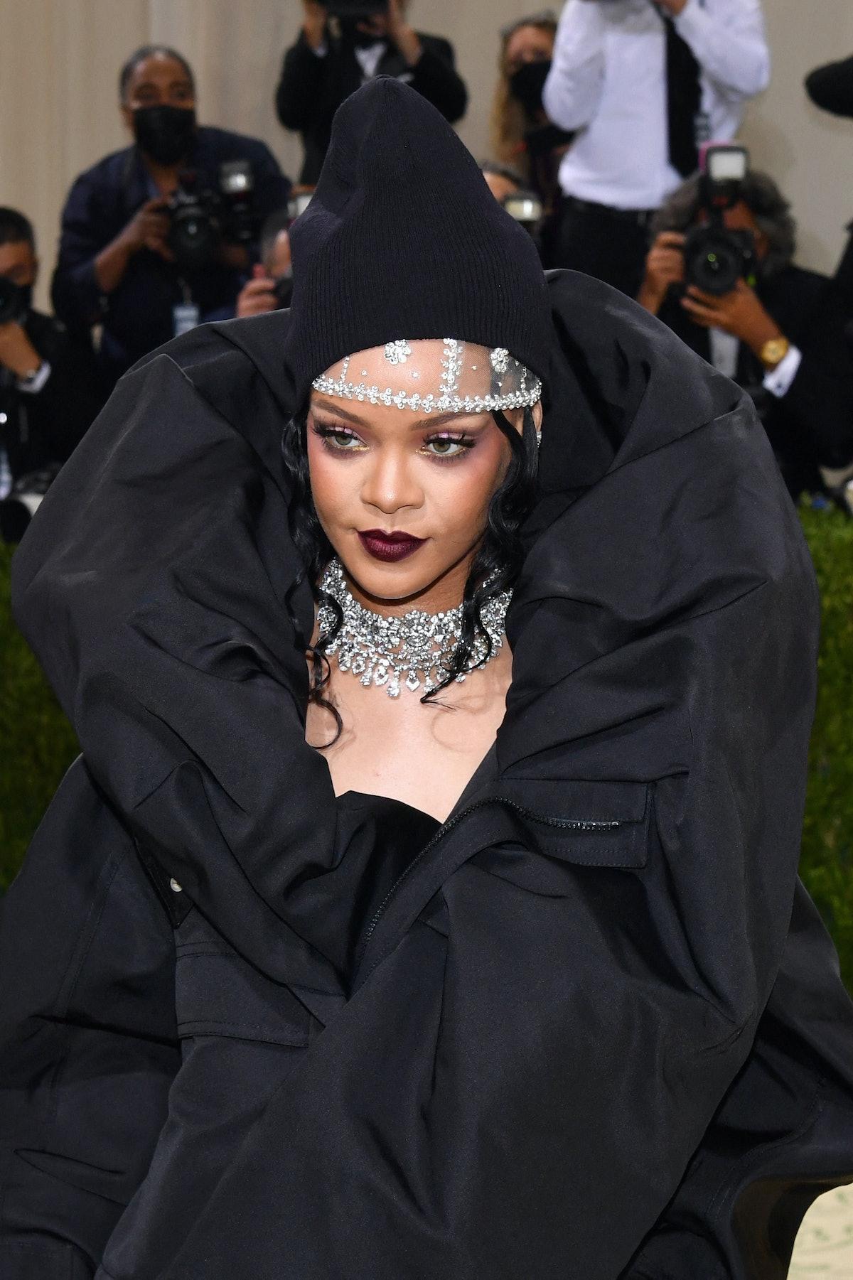 Barbadian singer Rihanna arrives for the 2021 Met Gala at the Metropolitan Museum of Art on Septembe...