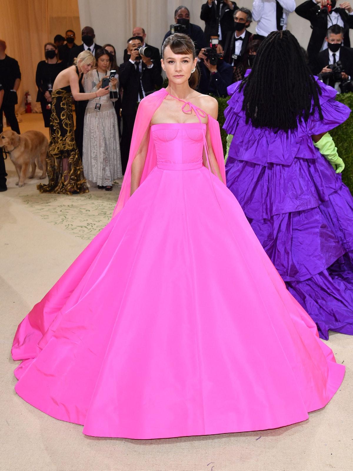 English actress Carey Mulligan arrives for the 2021 Met Gala at the Metropolitan Museum of Art on Se...
