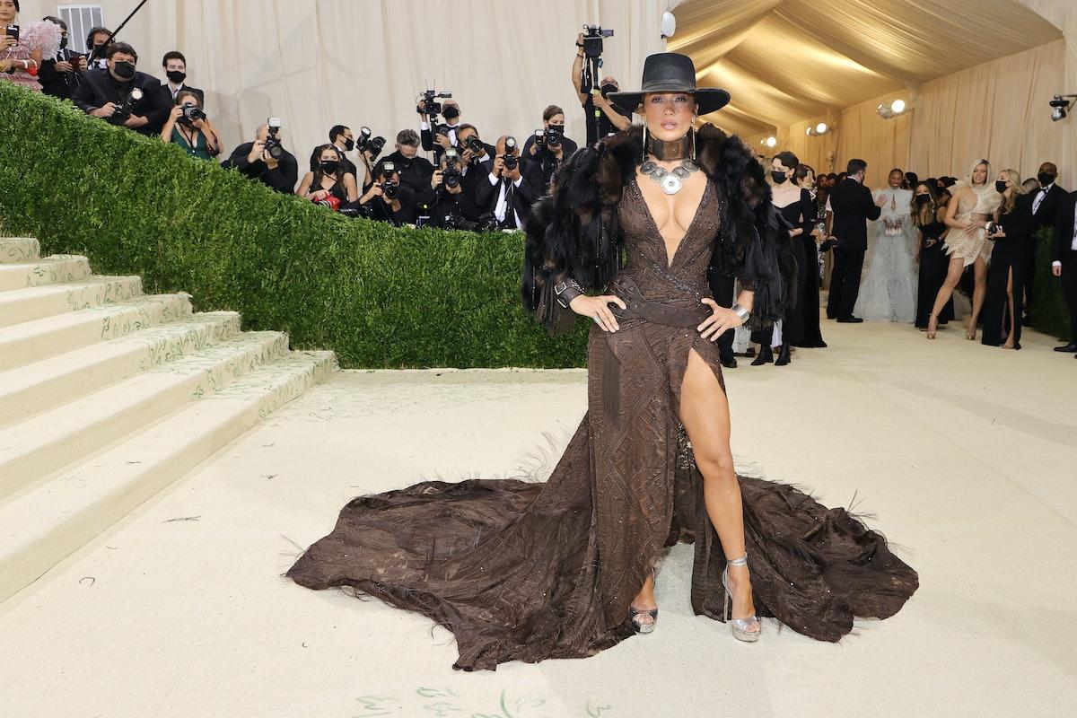 Jennifer Lopez attends The 2021 Met Gala in Ralph Lauren.