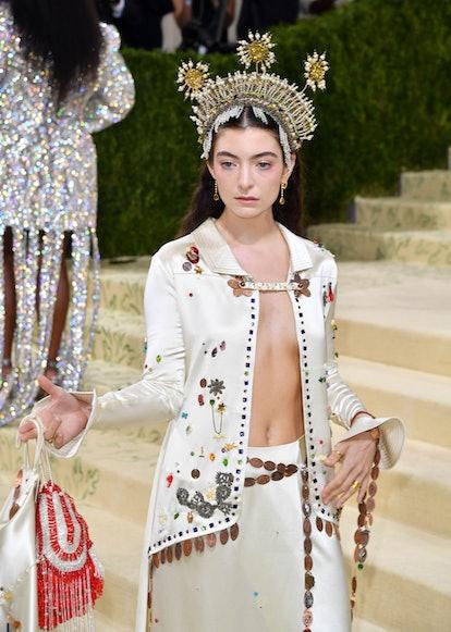 New Zealand singer Lorde arrives for the 2021 Met Gala at the Metropolitan Museum of Art on Septembe...