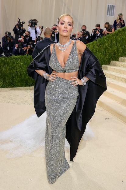 NEW YORK, NEW YORK - SEPTEMBER 13: Rita Ora attends The 2021 Met Gala Celebrating In America: A Lexi...