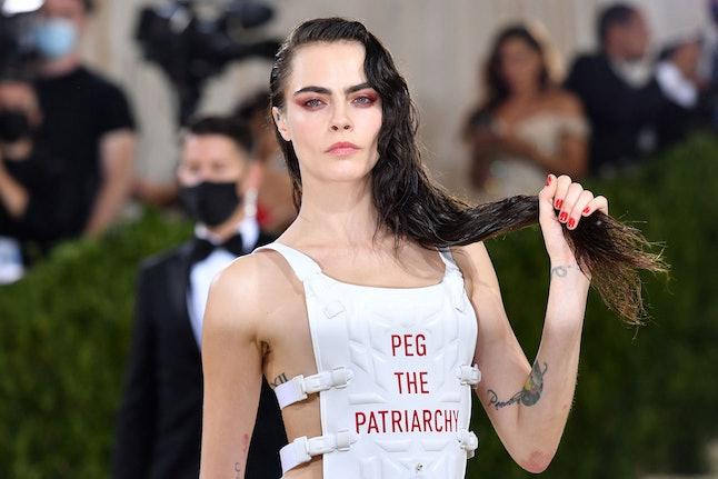 TOPSHOT - English model Cara Delevingne arrives for the 2021 Met Gala at the Metropolitan Museum of ...
