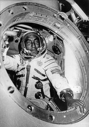 Cuban researcher-cosmonaut lieutenant-colonel arnaldo tamayo mendez in a simulator at the gagarin co...