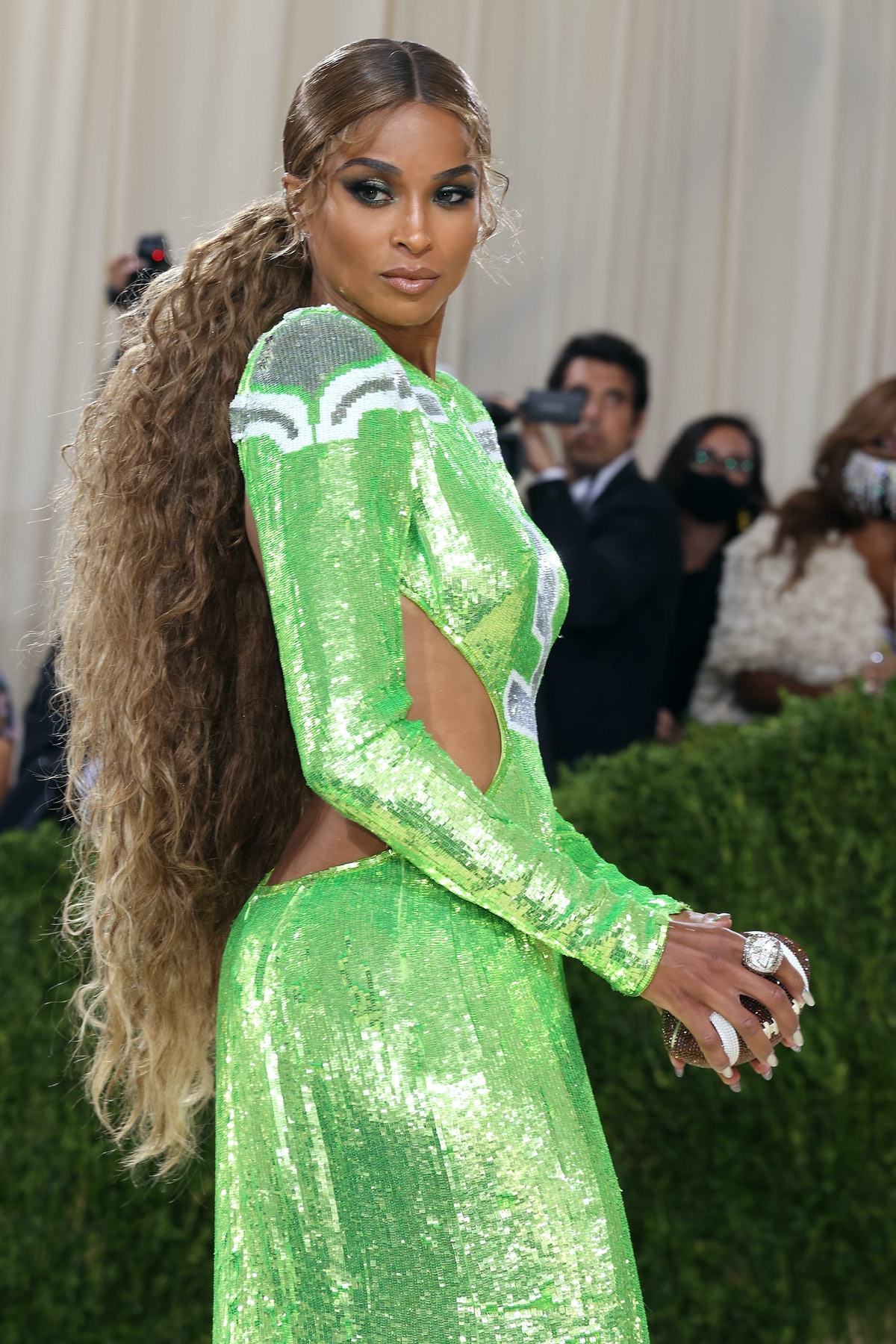 """NEW YORK, NEW YORK - SEPTEMBER 13: Ciara attends the 2021 Met Gala benefit """"In America: A Lexicon of..."""