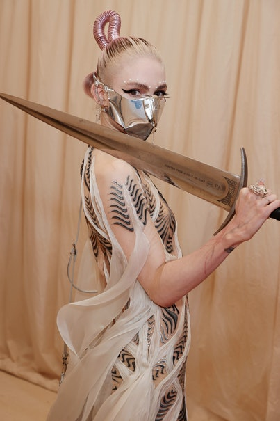 NEW YORK, NEW YORK - SEPTEMBER 13: Grimes attends The 2021 Met Gala Celebrating In America: A Lexico...