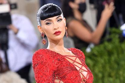 US actress Megan Fox arrives for the 2021 Met Gala at the Metropolitan Museum of Art on September 13...