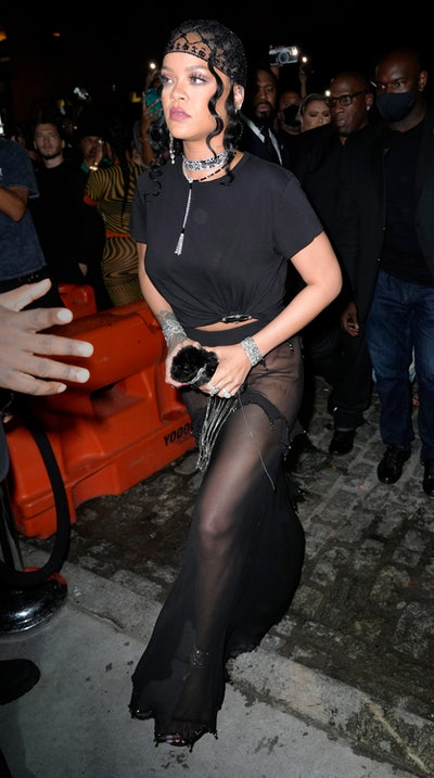 NEW YORK, NEW YORK - SEPTEMBER 13: Rihanna attends a Met Gala afterparty at DAVIDE on September 13, ...