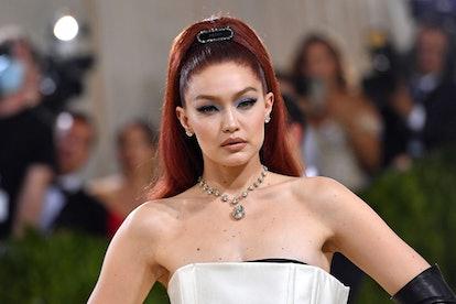US model Gigi Hadid arrives for the 2021 Met Gala at the Metropolitan Museum of Art on September 13,...