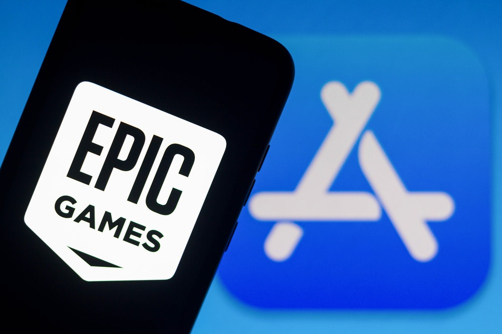 BRAZIL - 2021/09/13: In this photo illustration the Epic Games logo seen displayed on a smartphone w...