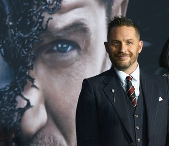 """WESTWOOD, CA - OCTOBER 01:  Actor Tom Hardy arrives for Premiere Of Columbia Pictures' """"Venom"""" held ..."""