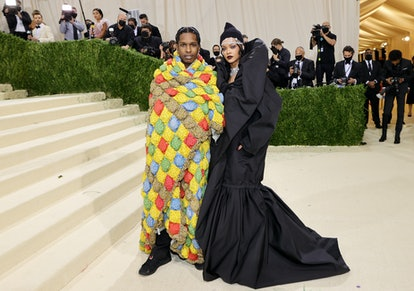 NEW YORK, NEW YORK - SEPTEMBER 13: ASAP Rocky and Rihanna attend The 2021 Met Gala Celebrating In Am...